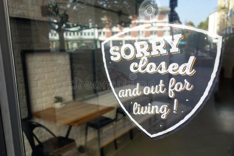 Sorry, we`re closed sign royalty free stock photos