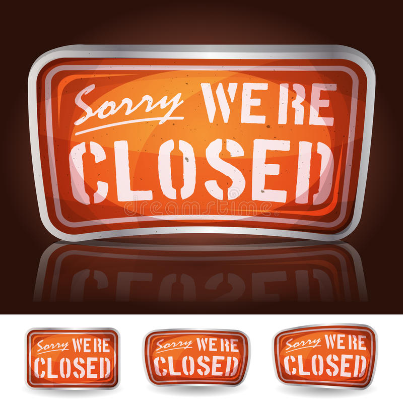 Sorry Were Closed Sign stock illustration