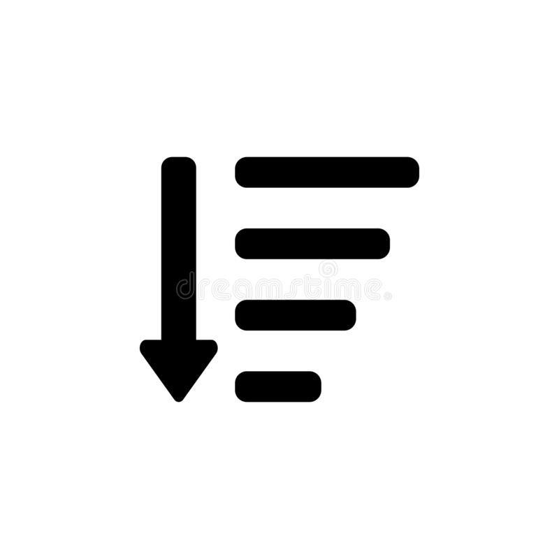 Sort by attributes icon. Signs and symbols can be used for web, logo, mobile app, UI, UX royalty free illustration