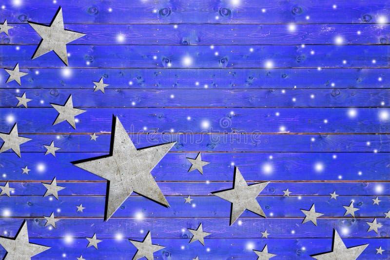 Sort d'étoile de fer sur le conseil en bois bleu superficiel par les agents photos stock