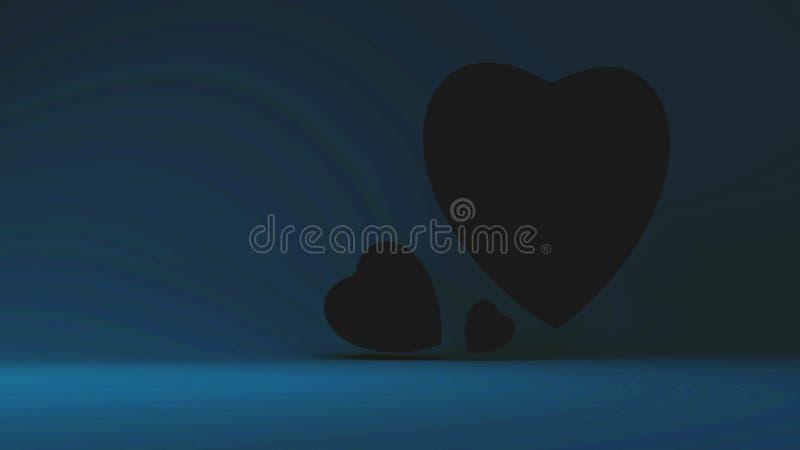 Sort de coeurs 3d sur le fond de turquoise illustration libre de droits