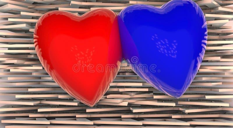 Sort de coeurs 3d sur le fond de turquoise illustration stock