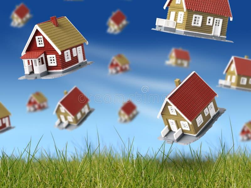 Sort de maisons tombant du ciel. illustration libre de droits