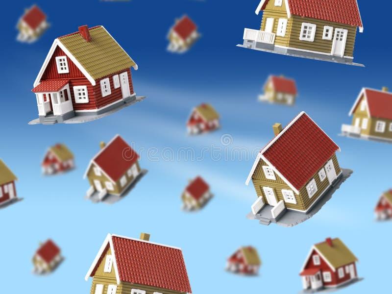 Sort de maisons tombant du ciel. illustration de vecteur