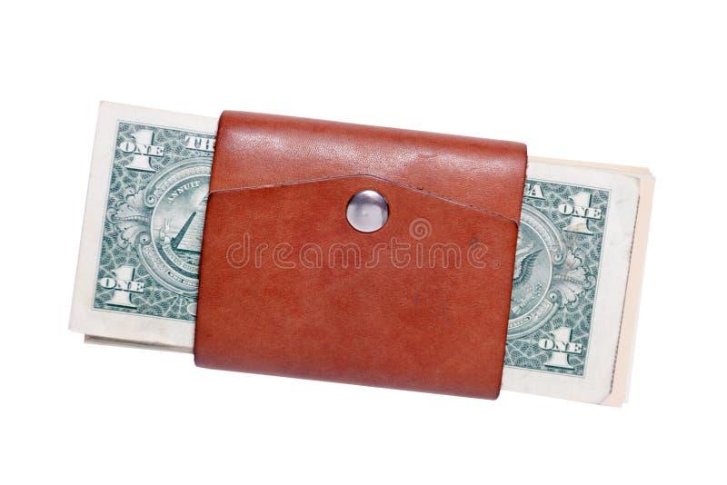 Sort de plan rapproché de billets de banque américains du dollar dans le petit portefeuille brun en cuir fermé avec le bouton Sau photo libre de droits