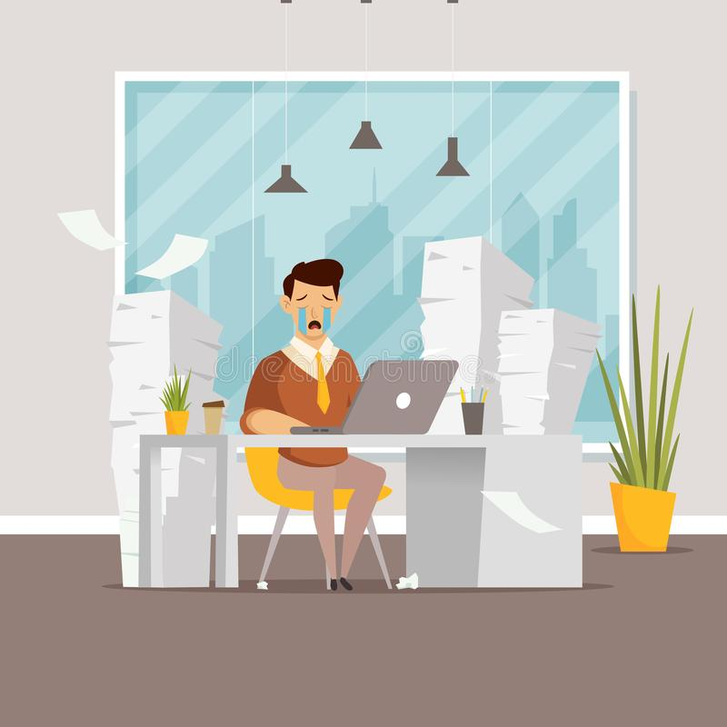 Sort de travail Surmenage d'homme dans le bureau illustration libre de droits