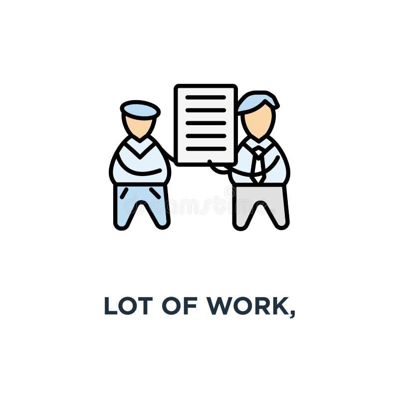sort de travail, transfert de la pile de documents entre les employés de bureau, contour de la meilleure qualité de qualité pour  illustration stock