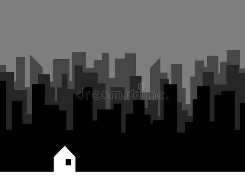 Download Sort Des Silhouettes De Bâtiments Et De La Seule Petite Maison Illustration de Vecteur - Illustration du gris, illustration: 87708163