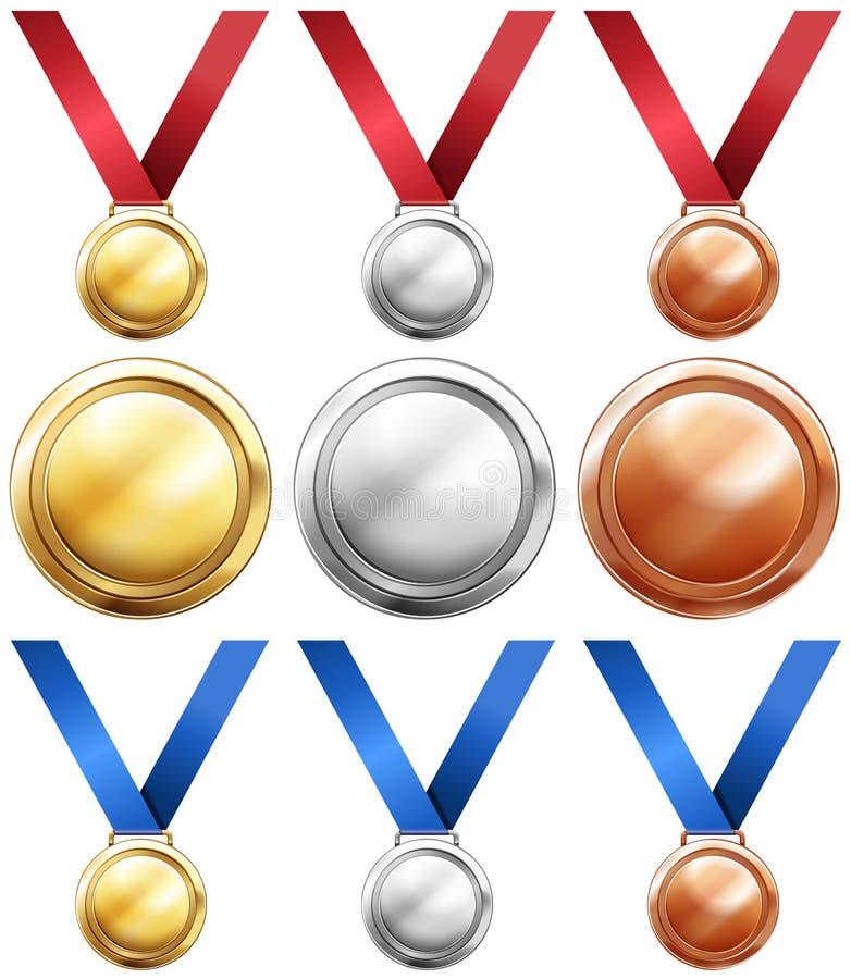 Sort tre av medaljer med rött och strumpebandsorden vektor illustrationer