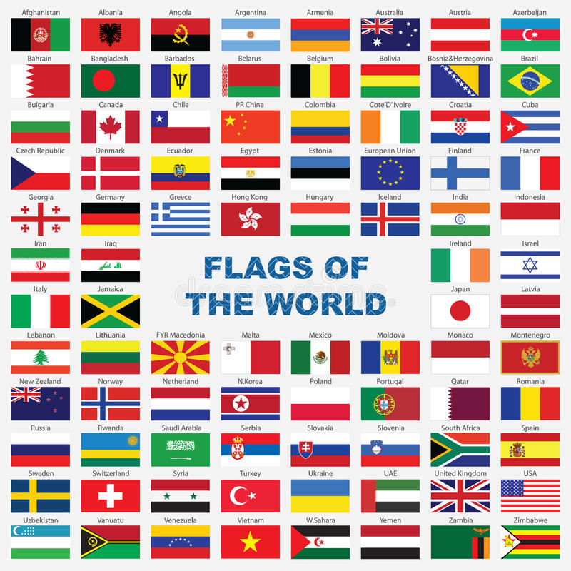 Download Sorted Flags Of The World With Detailed Emblems Stock Vector - Image: 9783076