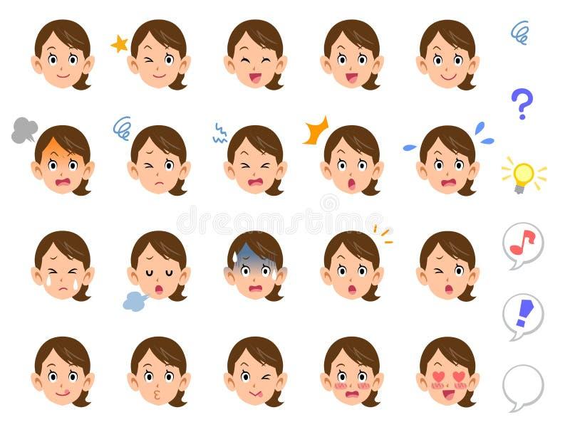 20 sorter av en kvinna som band deras ansikts- hemmafru för hår vektor illustrationer
