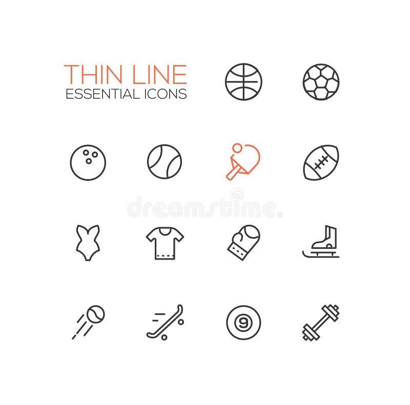 Sorter av sporten - linje symbolsuppsättning vektor illustrationer
