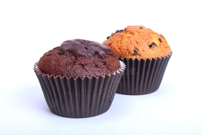 Sorterat med den läckra hemlagade muffin, muffin med russin, muttrar och choklad som isoleras på vit bakgrund royaltyfria foton