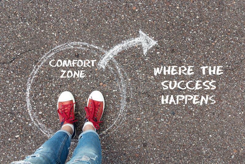 Sortez du concept de zone de confort Pieds tenant le cercle intérieur image stock