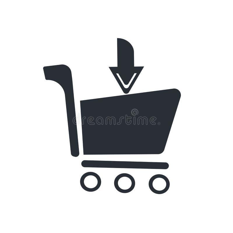 Sortez du signe de vecteur d'icône de chariot et le symbole d'isolement sur le fond blanc, sortent du concept de logo de chariot illustration stock
