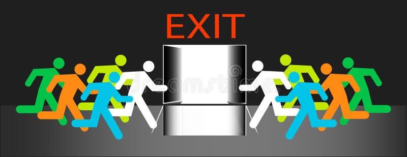 Sortez la porte groupe de beaucoup d'humains couru à l'isolement de vecteur d'évacuation de secours illustration libre de droits