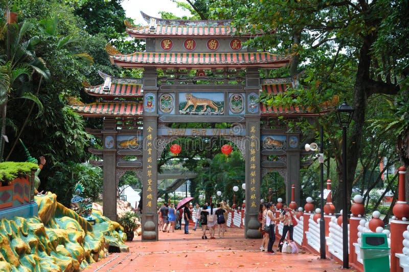 Sortez le côté de l'entrée à la villa de pair de baie d'aubépine de Singapour photographie stock