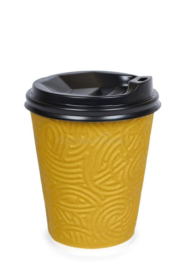 Sortez le café dans la tasse thermo D'isolement sur un fond blanc Récipient jetable, boisson chaude images stock