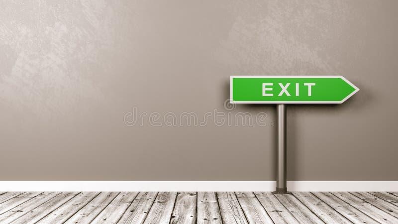 Sortez le panneau routier de flèche directionnelle dans la chambre avec l'espace de copie illustration libre de droits
