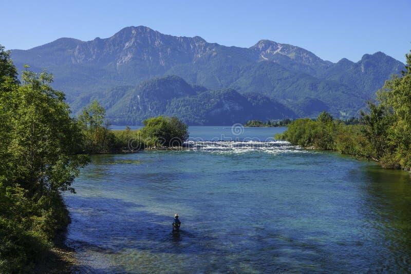 Sortie de rivière Loisach, Bavière photo stock