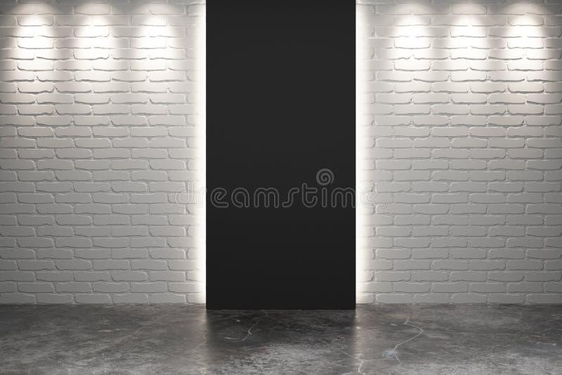 Sortie noire dans la chambre vide avec les murs de briques for Chambre vide