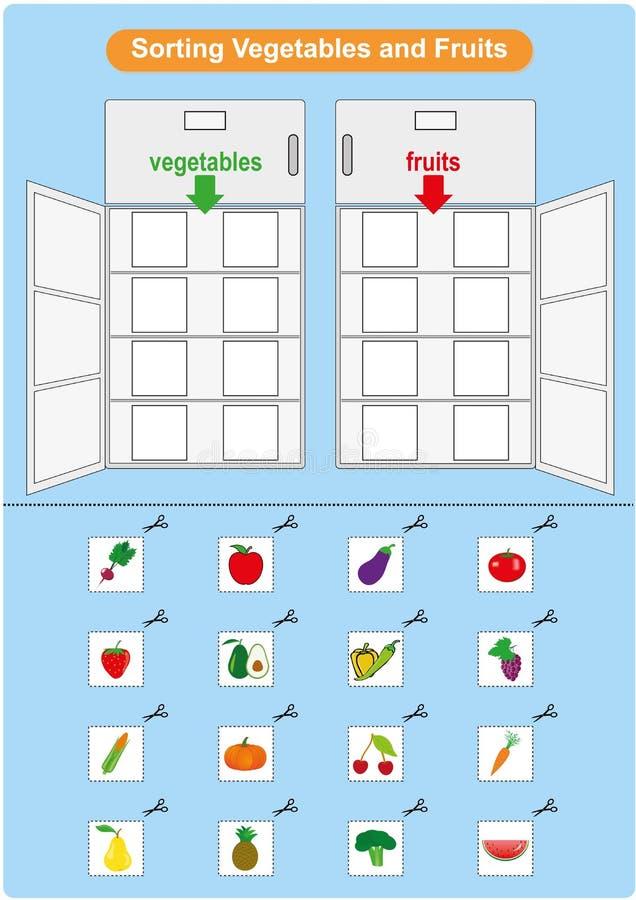 Sortieren von Obst und Gemüse im Kühlschrank, Arbeitsblatt für Kindergarten stock abbildung
