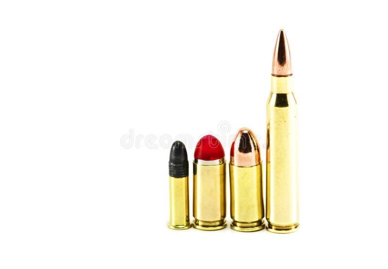 Sortierte Gewehrkugeln ausgerichtet lizenzfreies stockbild