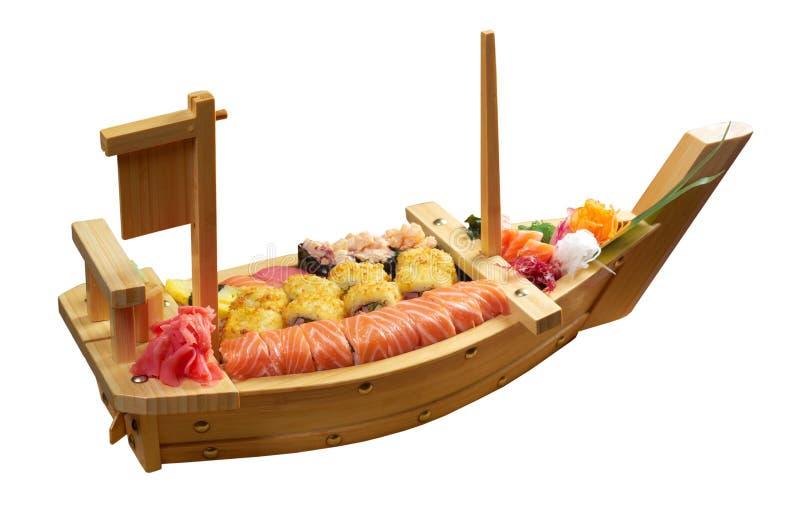Sortierte japanische Nahrung der Sushi auf der Lieferung lizenzfreie stockfotos