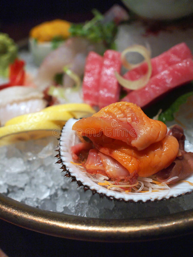 Sortierte Sashimi-Mehrlagenplatte lizenzfreies stockbild