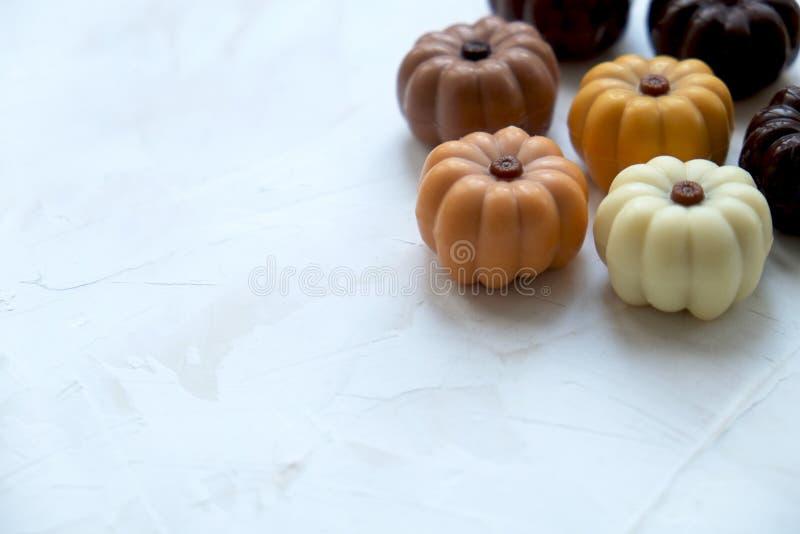 Sortierte Schokoladen-Kürbissüßigkeiten Belgiens köstliche auf weißem strukturiertem Hintergrund Textraum stockbild
