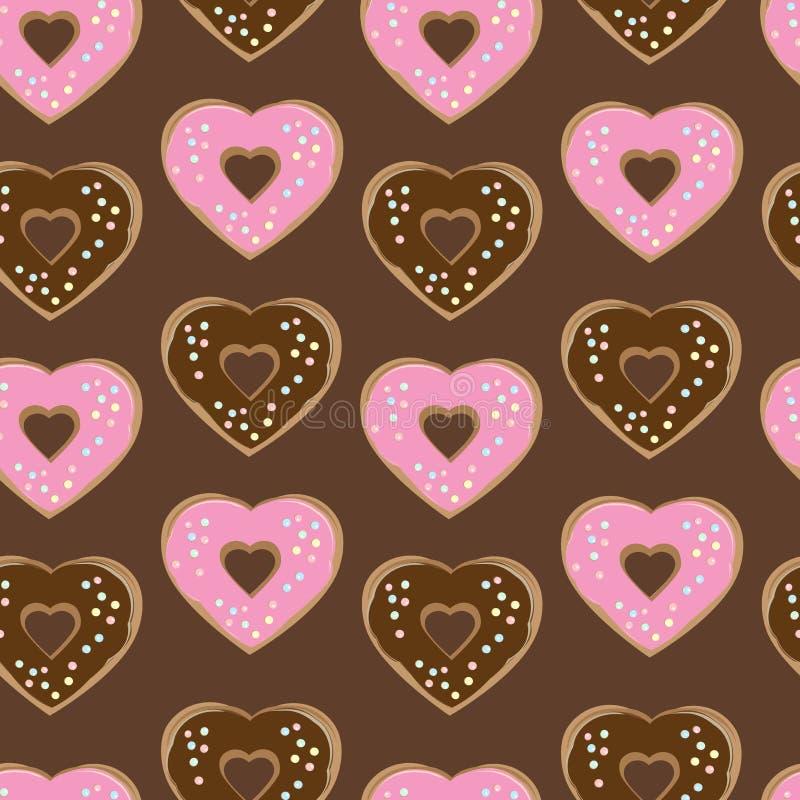 Sortierte geformte Krapfen des Herzens stock abbildung
