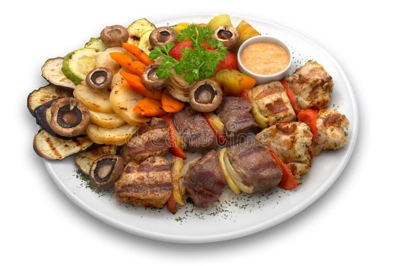 Sortiertes kebab: Kalbfleisch, Huhn und Schweinefleisch lizenzfreie stockfotos