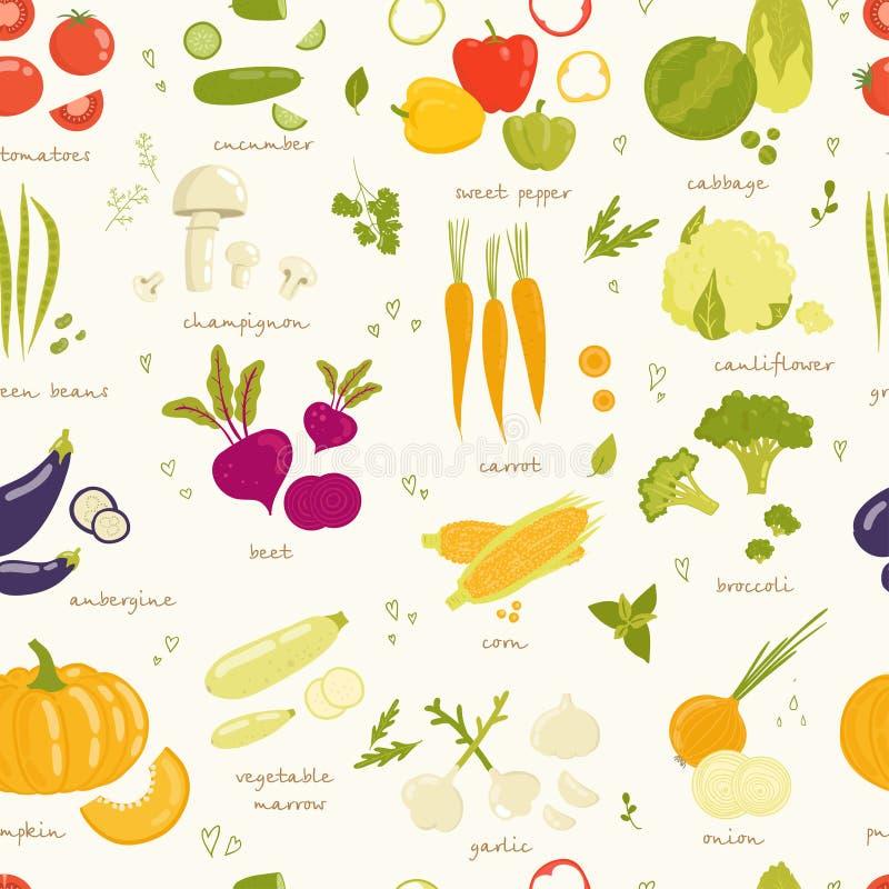 Sortiertes nahtloses Muster des Gemüsevektors lizenzfreie abbildung