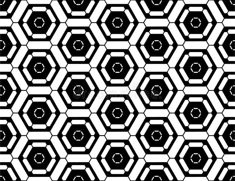 Sortilège sans couture moderne de modèle de la géométrie de vecteur, résumé noir et blanc illustration de vecteur