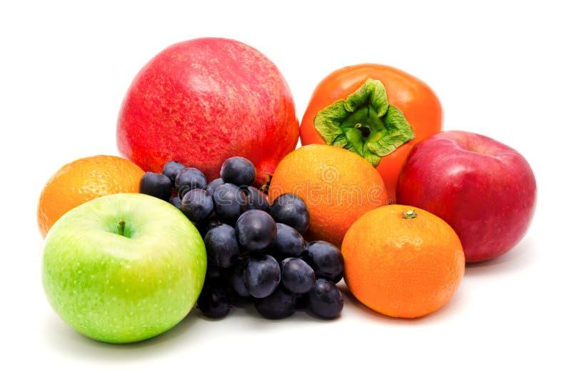 Sortiment av isolerade exotiska frukter royaltyfri bild