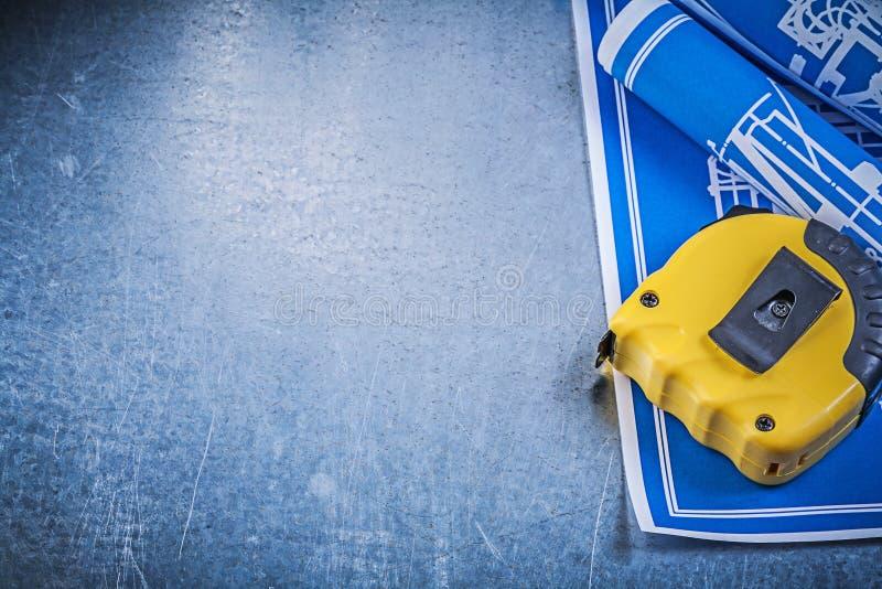 Sortimentet av blå konstruktion planerar att mäta bandet på metalliskt arkivfoton