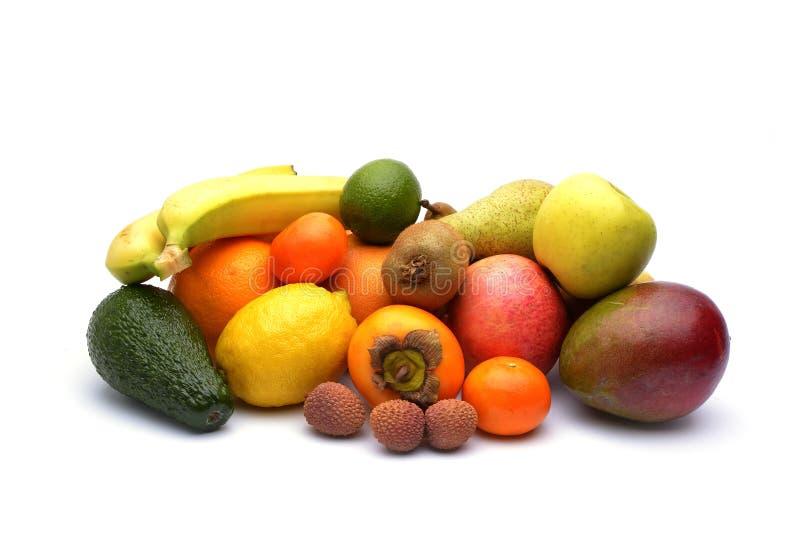 Sortimentet av exotiska frukter som isoleras på vit fotografering för bildbyråer