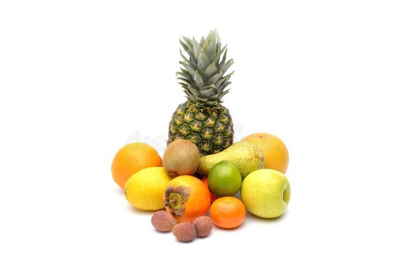 Sortimentet av exotiska frukter som isoleras på vit royaltyfri bild