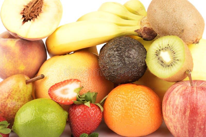 Sortimentet av exotiska frukter som isoleras på vit royaltyfri foto