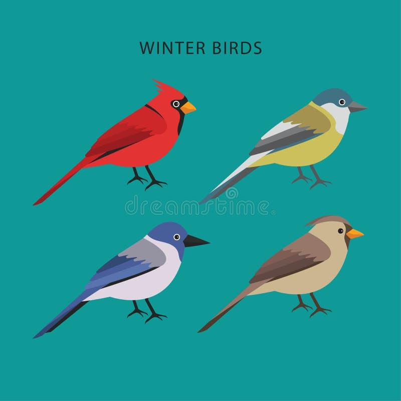 Sortimentvinterfåglar sänker design stock illustrationer