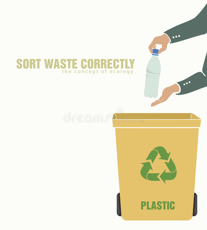 Sorting plastic, pollution of environment. Concept of waste vector illustration