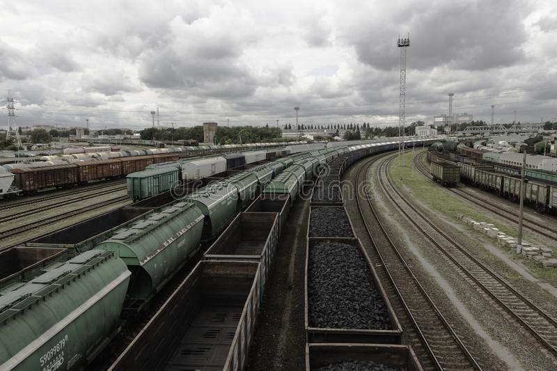 Sorting railway station with freight cars royalty free stock image