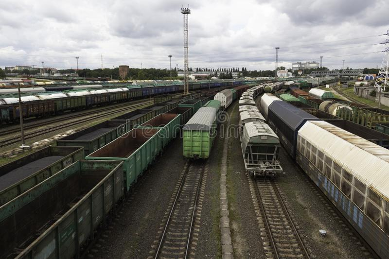 Sorting railway station with freight cars stock photos