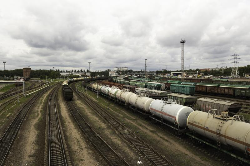 Sorting railway station with freight cars stock photography