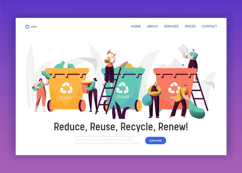 Sorting Trash for Recycle Landing Page. Rubbish Bin for Plastic and Paper Separation to Reduce Environment Pollution vector illustration
