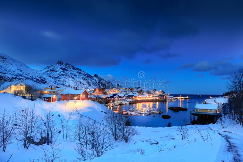 Sorvagen village on Lofoten Islands stock photography