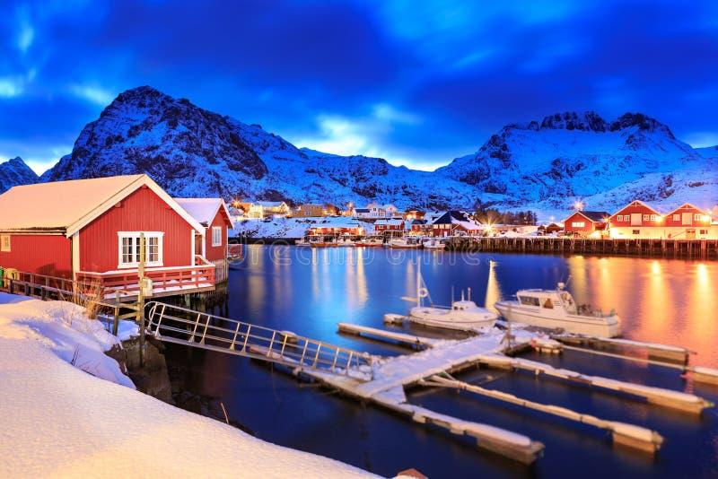 Sorvagen village on Lofoten Islands royalty free stock photo
