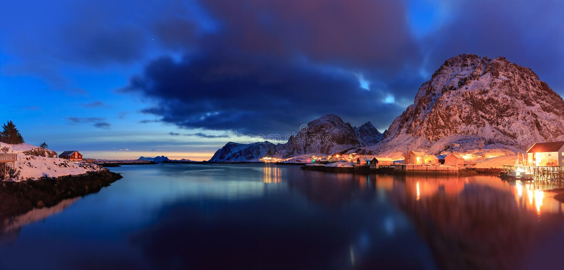 Sorvagen village on Lofoten Islands stock image