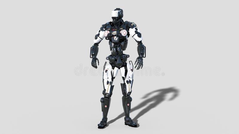 Sorvegli il robot, il cyborg di applicazione di legge, poliziotto di androide isolato su fondo bianco, 3D rendono illustrazione di stock