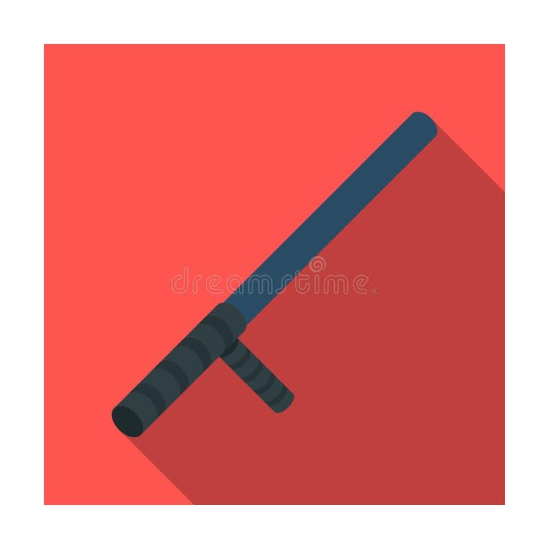 Sorvegli l'icona del bastone nello stile piano su fondo bianco Illustrazione di vettore delle azione di simbolo della polizia illustrazione di stock